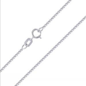 "Jewelry - 10K Solid White Gold Box Chain 18"" Ladies Necklace"